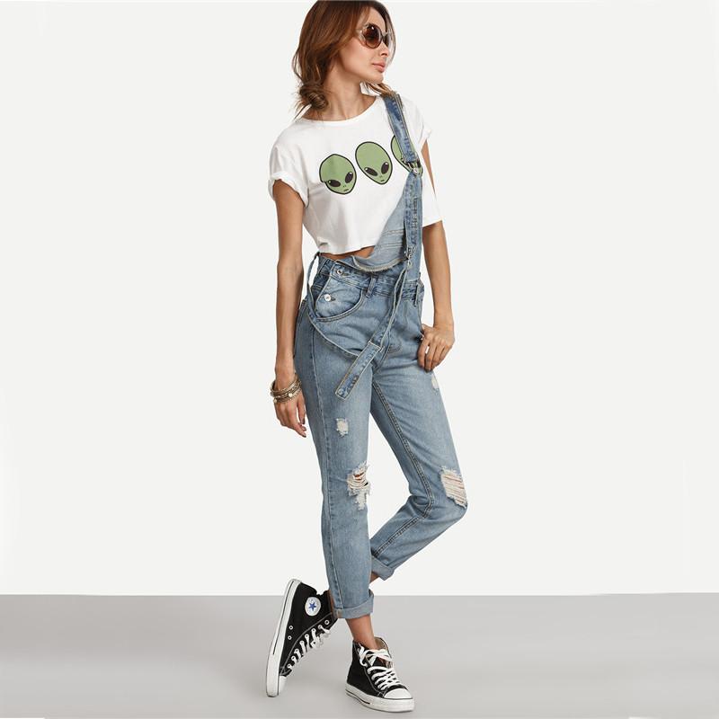 Dotfashion Kamień Wash Denim Ripped Jeans Ogólne Kobiety Śliczne Wear Vintage Kombinezony Bez Rękawów z Kieszeniami 7