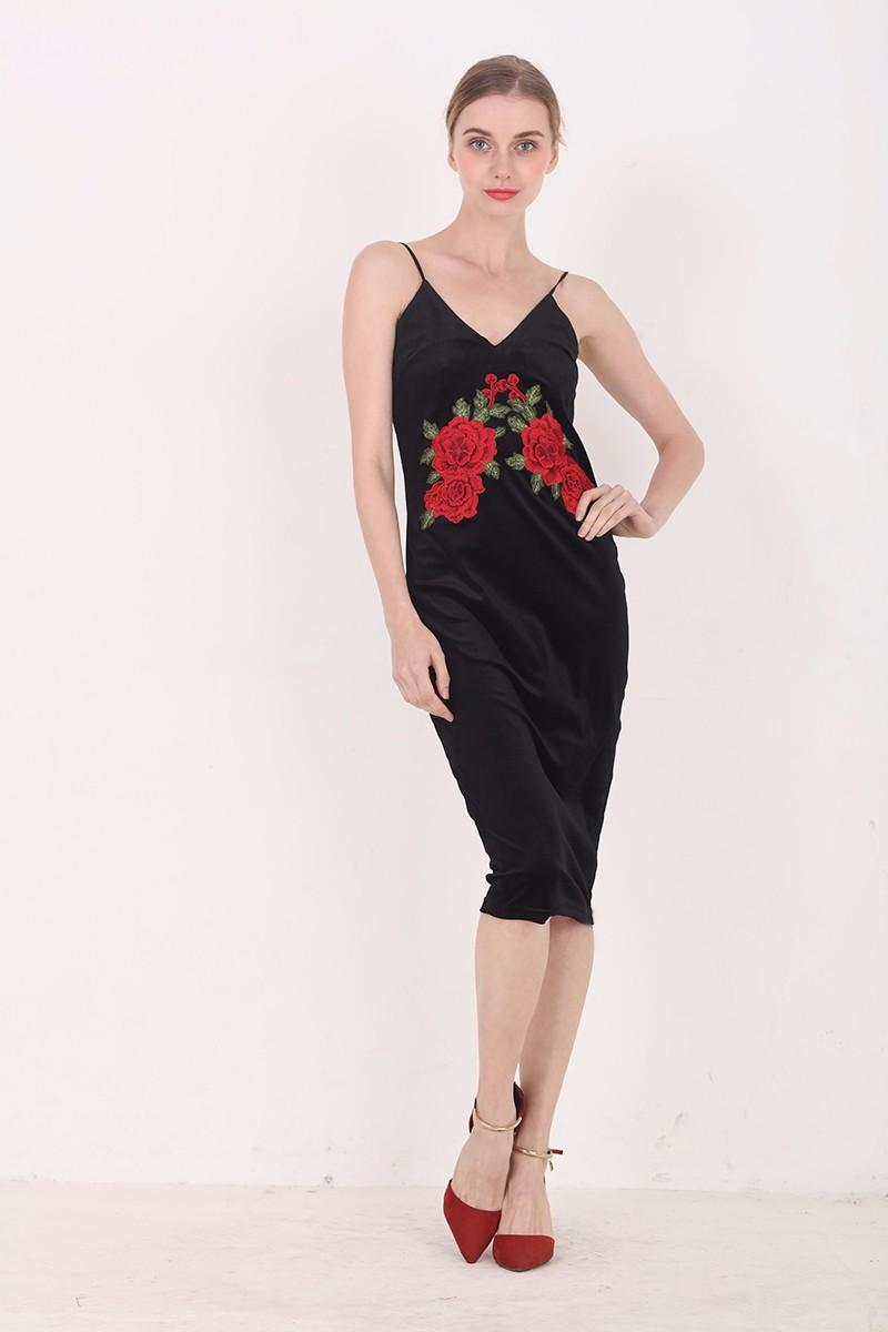 Red Flower Embroidered Black Velvet Shoulder-Straps Bodycon Dress 6