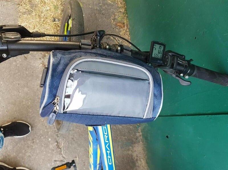 Wodoodporny Ekran Dotykowy Sakwy Rowerowe Rower Górski Rower Torby Phone Bag Case Rower Szosowy Rura Przednia Kierownica Torba Cylindra 1