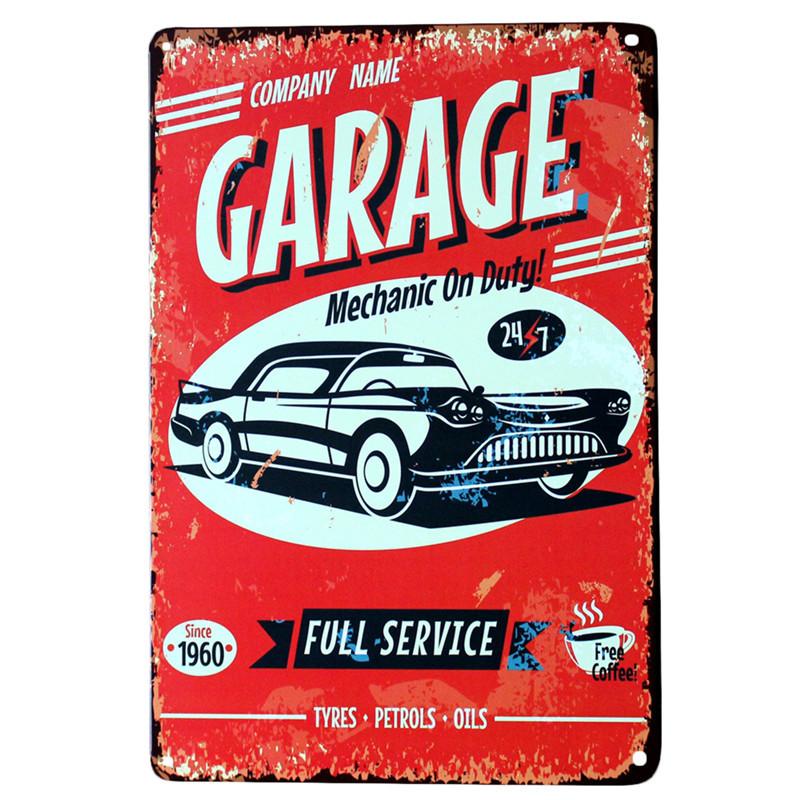 Vintage Metal Tin Signs Garage Vxotic