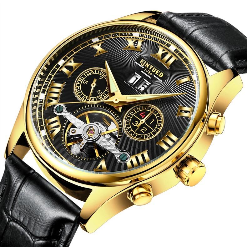 Kinyued Skeleton Watch Mężczyźni Automatyczna Wodoodporna Top Marka Męskie Zegarki Mechaniczne Skóry Kalendarza Złota Róża Relógio Masculino 3
