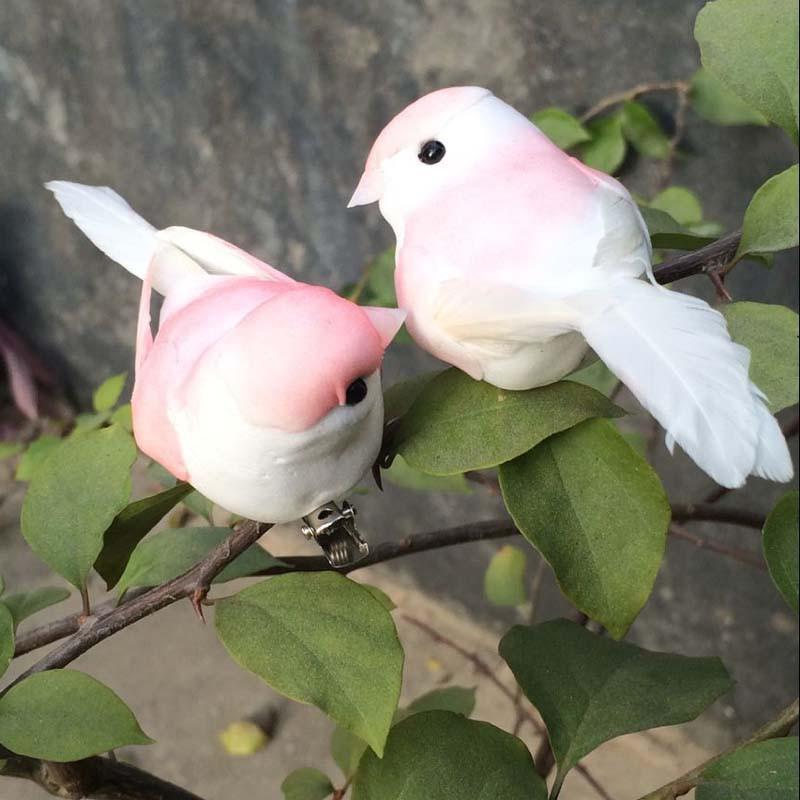 12PCS Artificial Foam Feather Mini Birds With Clip Wedding ...