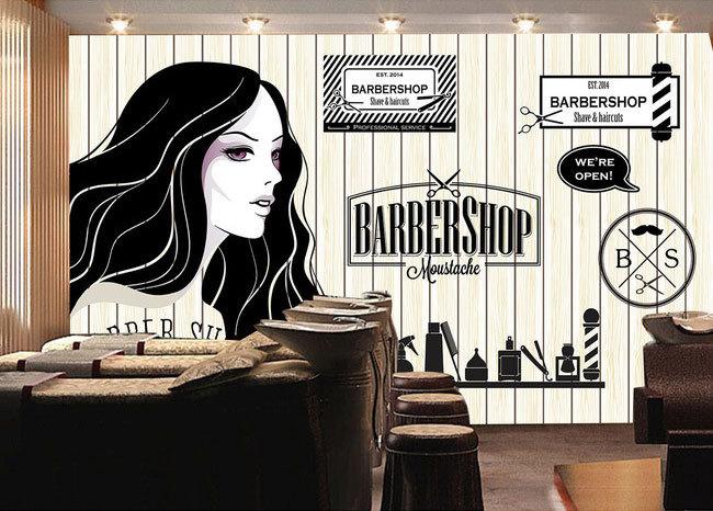 Europejskie i amerykańskie retro drewno fryzjer sklep sklep kosmetyczny duży mural tapety 3d tapety sypialnia salon tv stereo 3d 13