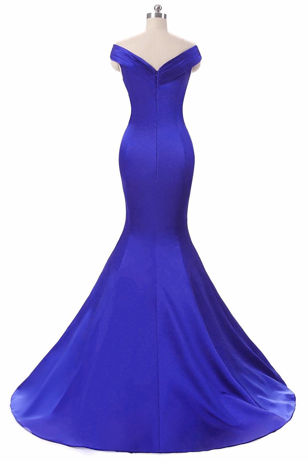 Royal Blue V-Neck Floor Length Mermaid Long Evening Dress 2