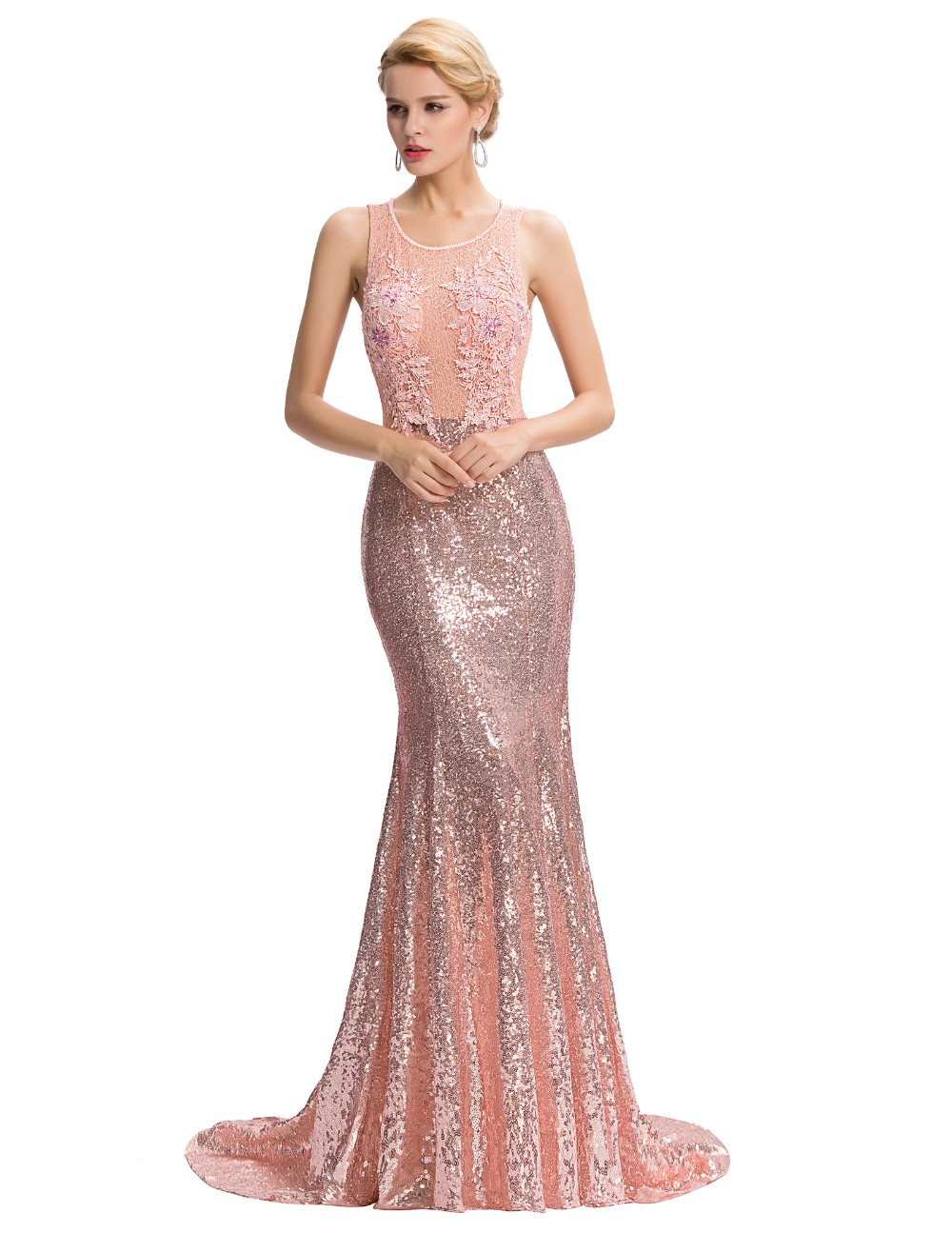 Elegant Pink Sequin Floor Length Backless Lace Mermaid Evening Dress 3