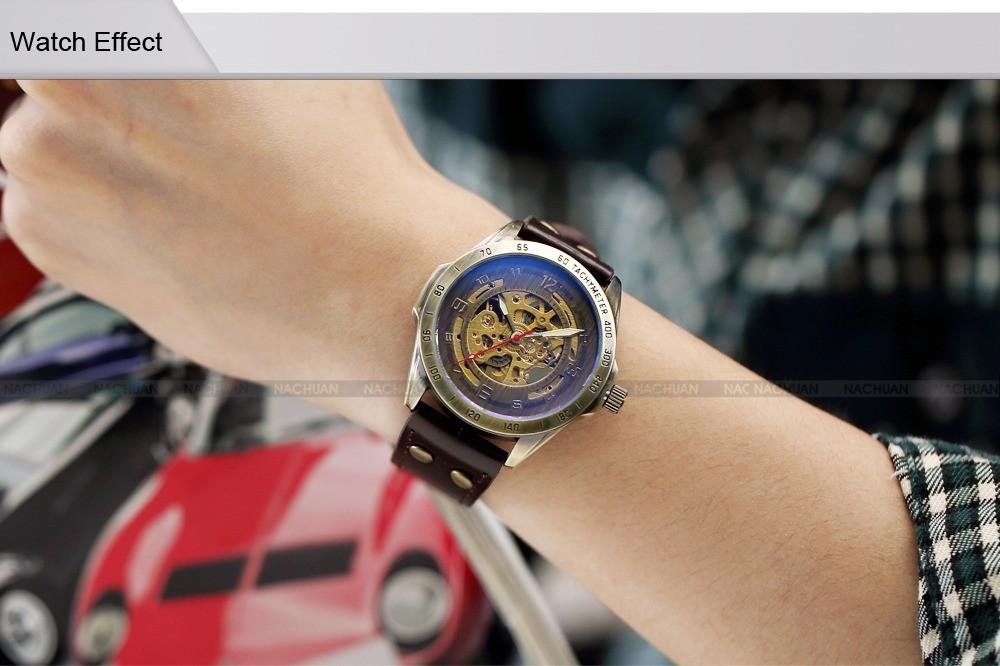 Luksusowe marki męska retro bronze steampunk szkielet automatyczne mechaniczne relogio skórzane sportowe męskie w stylu vintage casual wrist watch 5