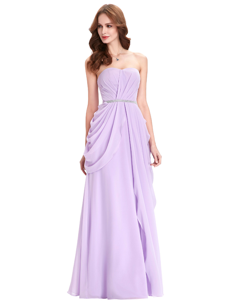 Purple Lavender Long Chiffon Floor Length Bridesmaid Dress 6