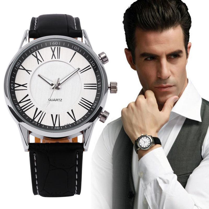 Ludzie Biznesu Kwarcowy Zegarek 2017 mężczyzna Elegancki Pu Leather Military Zegarki Sportowe Męskie Casual Analogowe Wrist Watch Relogio Masculino 1