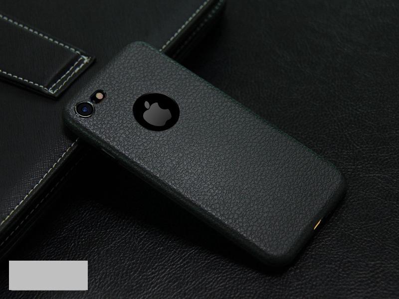 Dla iphone 7 plus iphone 7 case silicon ultracienkich tpu miękka skóra wzór case dla iphone 6 6s plus logo hole back cover czarny 15