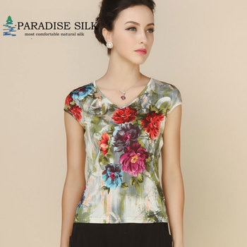 cb622b3231 Women Shirt 100% Pure Silk Knit Print Summer Womens Cap Tops—Free Shipping