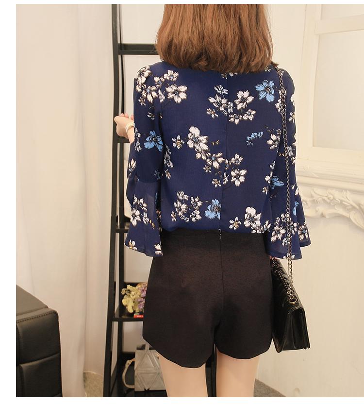 2016 jesień kwiatowy flare rękawem koszula szyfonowa bluzka kobiet topy kobiety biuro panie bluzka koreański fashion blusas chemise femme 4