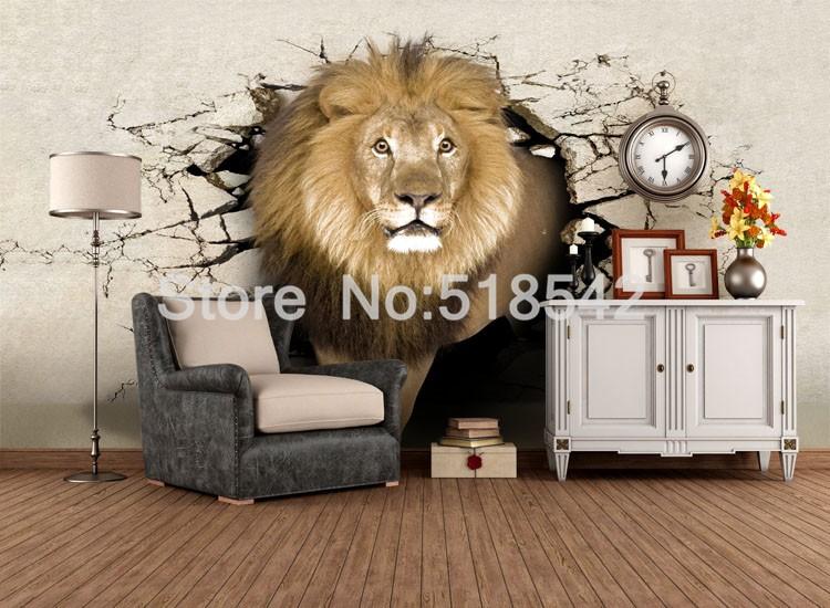Dostosowane fototapety 3d realistyczne mural nosorożec zwierząt lew słonie włókniny sypialnia mural home decor tapety ścienne 3d 3
