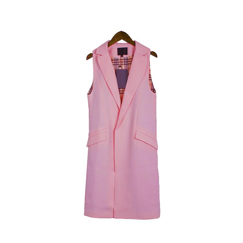 2017 wiosna nowy mody długie kieszenie turn-dół collar otwórz stitch pantone niebieski różowy beżowy czarny żakiet kamizelka bez rękawów kurtki 30