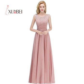 ff4a47aa30e6f Vestido dama de honor Dusty Pink Lace Bridesmaid Dresses Long 2019