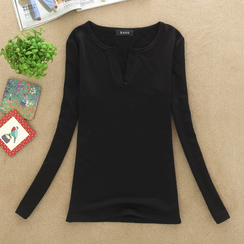 2017 stałe 14 kolory Dekolt Bluzki Sexy Szczupła Dzianiny Długi rękaw chemise femme koreański bluzki dla kobiet koszula clothing góry bluzka 24