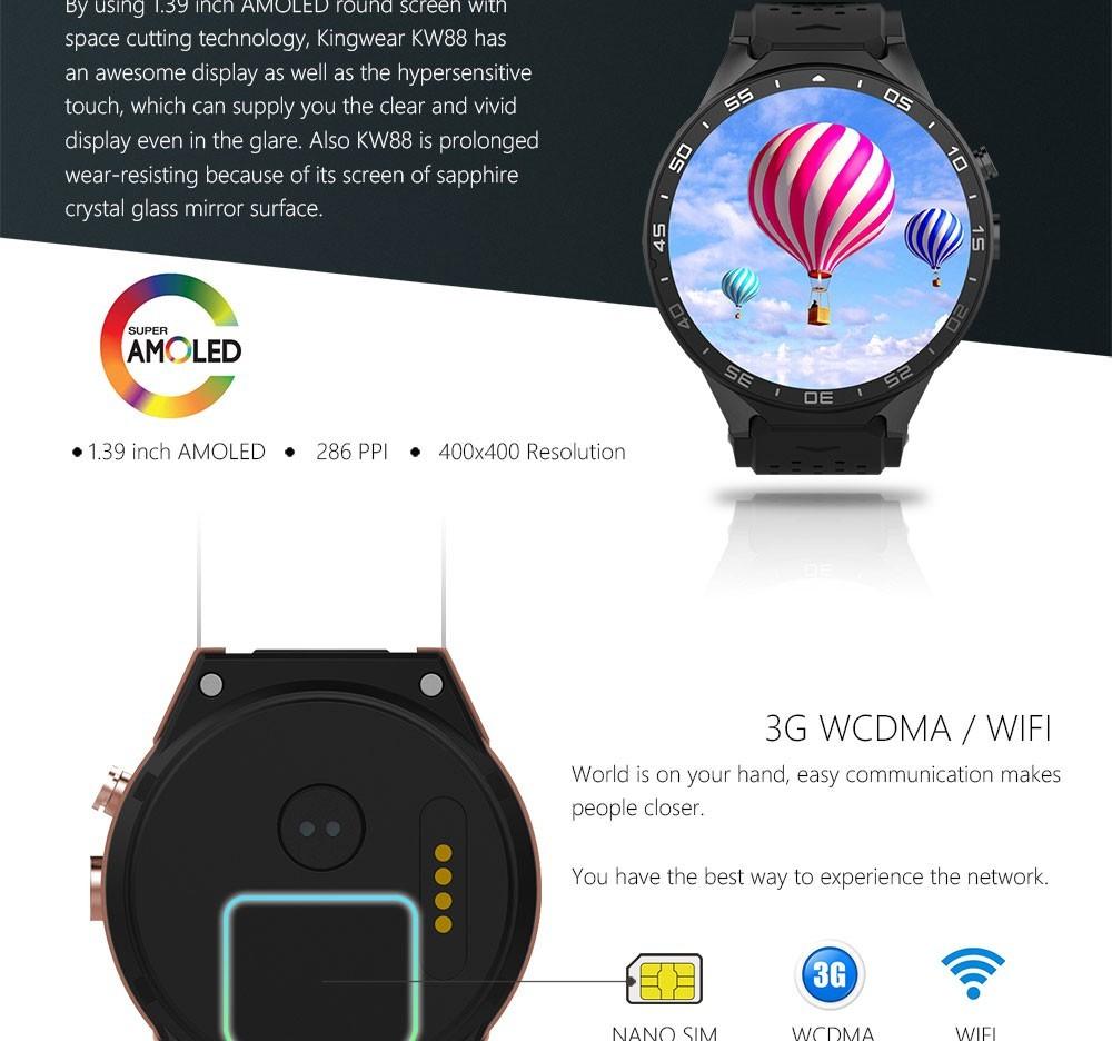 New 3G Kingwear KW88 Smart watch 1 39'' Amoled 0*0 SmartWatch 3G Calling  2 0MP Camera Pedometer Heart Rate relogio P20