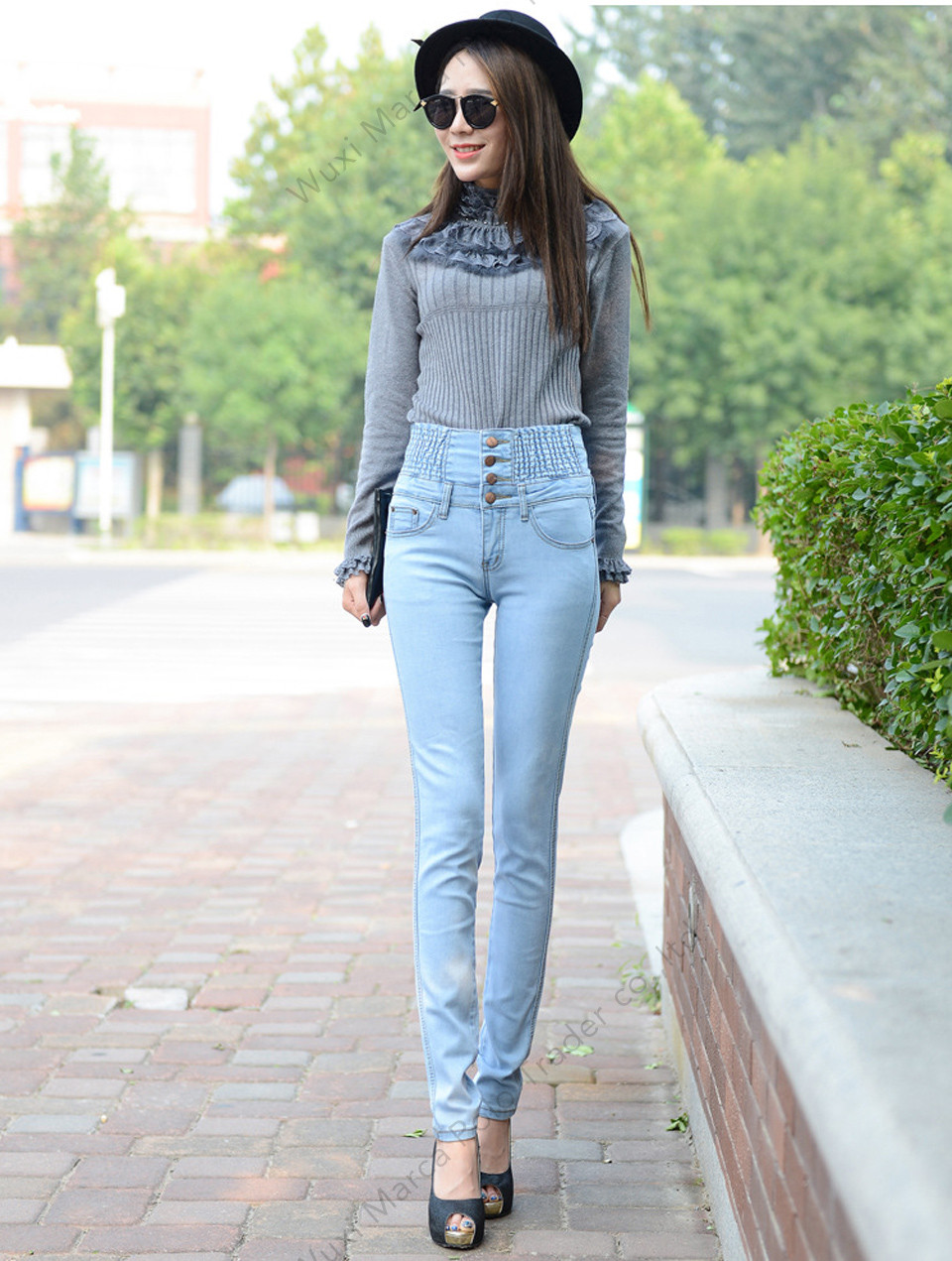 High Waist Elastic Skinny Denim Long Pencil Pants 8