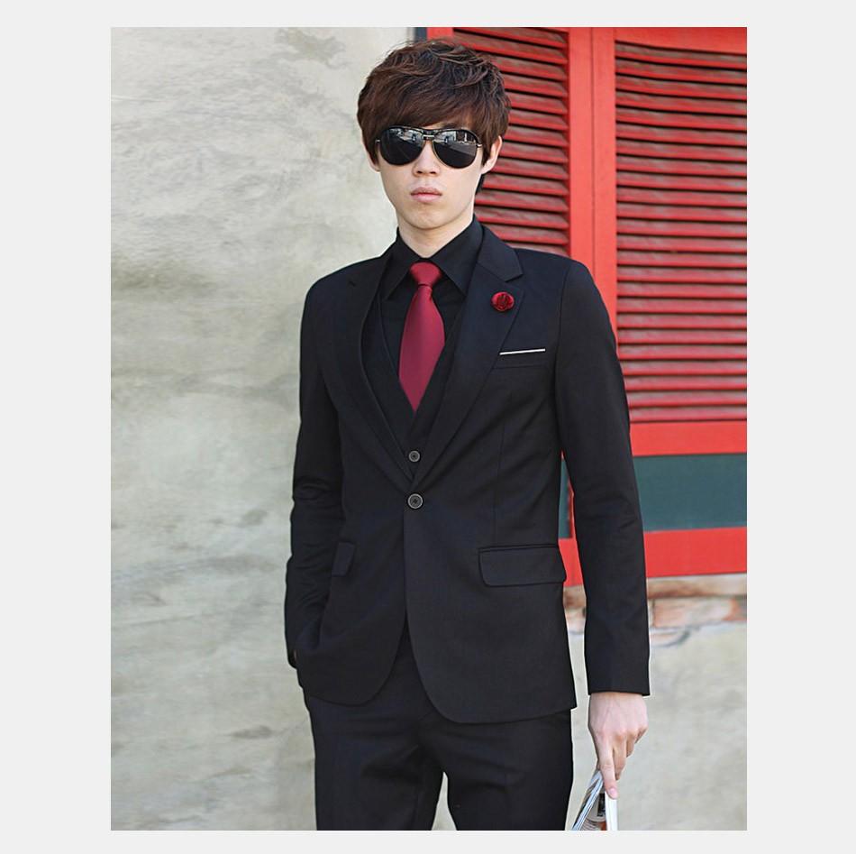 (Kurtka + Spodnie + Tie) luksusowe Mężczyzn Garnitur Mężczyzna Blazers Slim Fit Garnitury Ślubne Dla Mężczyzn Kostium Biznes Formalne Party Niebieski Klasycznej Czerni 7