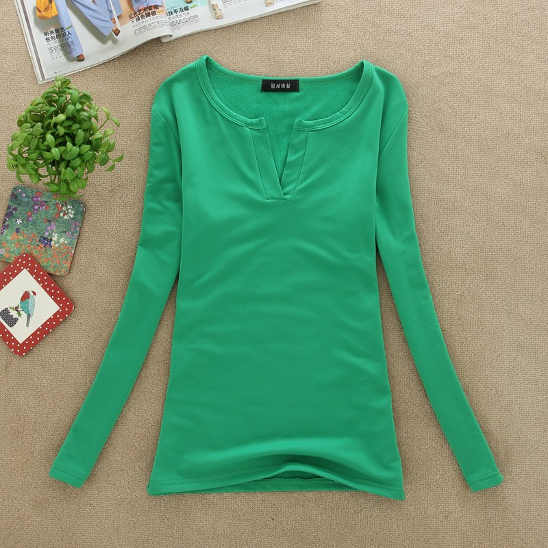 2017 stałe 14 kolory Dekolt Bluzki Sexy Szczupła Dzianiny Długi rękaw chemise femme koreański bluzki dla kobiet koszula clothing góry bluzka 14