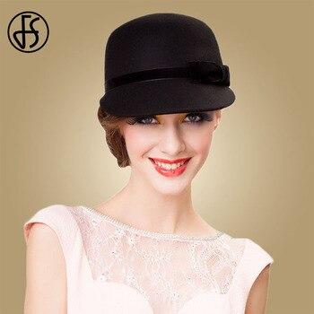 94abd4c05b20e3 100% Australian Wool Felt Hat Black Bowler Womens Wide Brim Fedoras—Free  Shipping