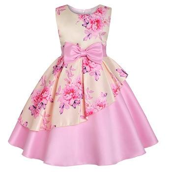 905f5ccaaf876 2019 New Girls Summer Dress Girls Floral Print Satin Wedding Birthday