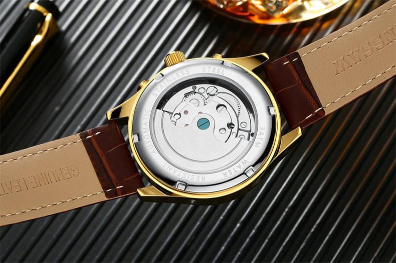 Kinyued Skeleton Watch Mężczyźni Automatyczna Wodoodporna Top Marka Męskie Zegarki Mechaniczne Skóry Kalendarza Złota Róża Relógio Masculino 9