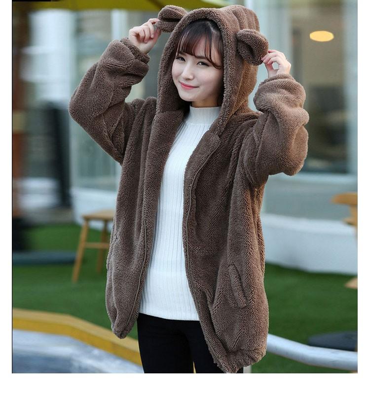 Hot Sprzedaż Kobiety Swetry Zipper Dziewczyna Zima Luźne Puszyste Niedźwiedź Ucha Bluza Z Kapturem Kurtka Warm Odzież Wierzchnia Płaszcz słodkie bluza H1301 7