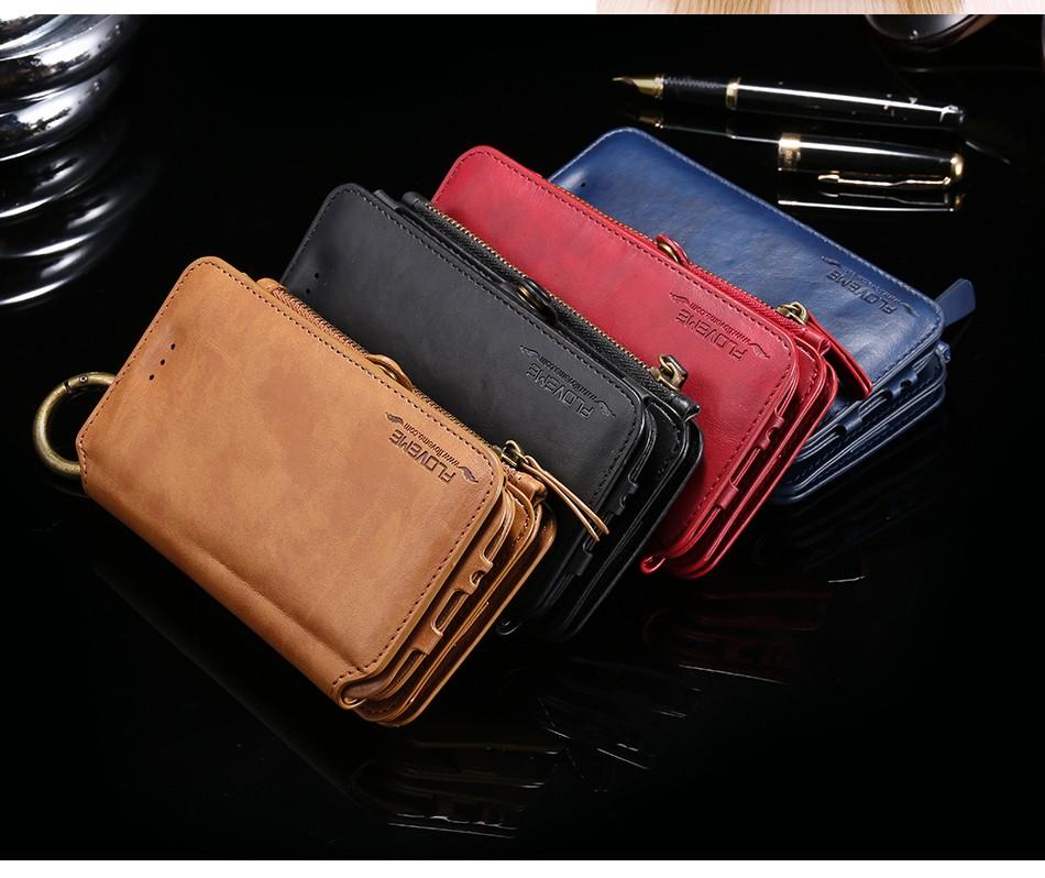 Floveme retro skóra telefon case do samsung galaxy note 3 4 5/s7/s6 edge plus metalowy pierścień coque karty portfel ochronne pokrywa 8