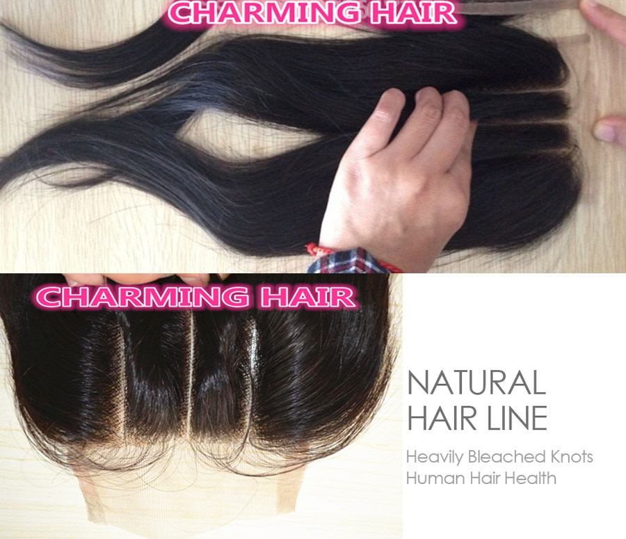 4x4 3 part lace front top closure human Hair Products Bleached Knots Straight 100% Unprocessed Peruvian Hair Free Shipping