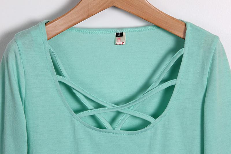 Kobiety Koszulki Z Długim Rękawem Topy Hollow Out Bandaż Swetry Slim Sexy Topy Tees Blusas plus size LJ4515M Femme 13