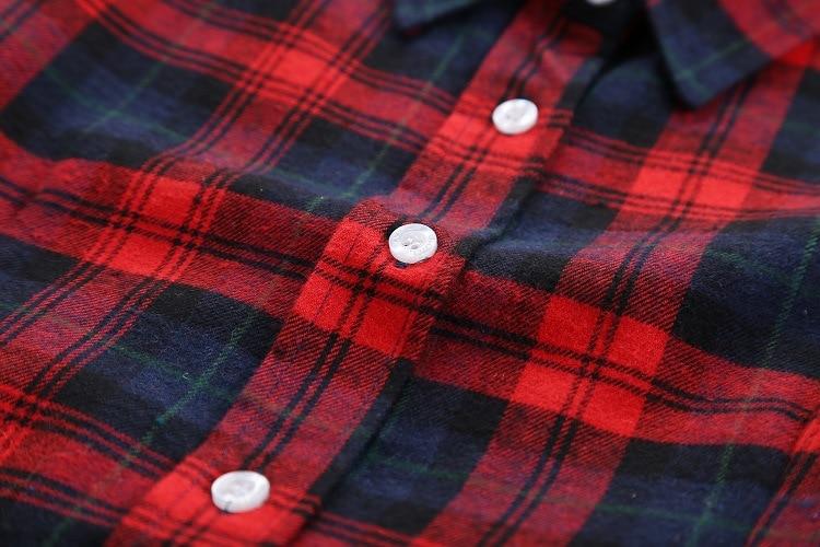 2016 Moda Plaid Shirt Kobiet College style damskie Bluzki Z Długim Rękawem Koszula Flanelowa Plus Rozmiar Bawełna Blusas Biuro topy 44