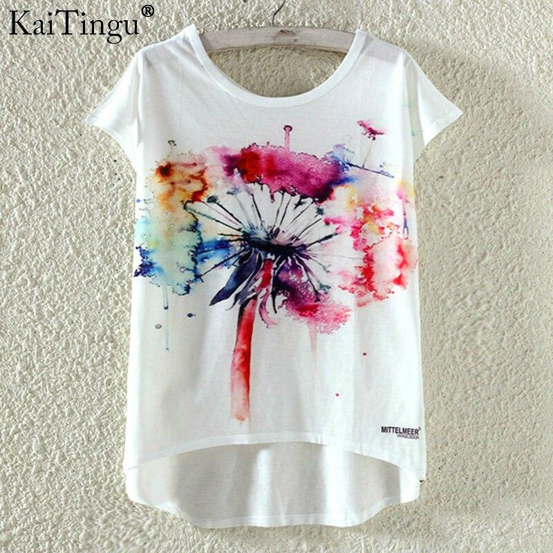 Kaitingu kawaii śliczne t koszula moda lato harajuku wysoki niski styl cat print t-shirt z krótkim rękawem t shirt kobiet topy plus size 2