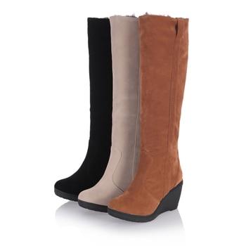 7b859dda62 Women 3 Styles Snow Boots Winter Warm Fur Shoes Woman Wedge High