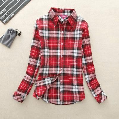 2017 hot sprzedaż jesień zima panie kobieta casual cotton lapel bluzka bluzki z długim rękawem kratę koszula kobiet szczupła odzieży wierzchniej clothing 30