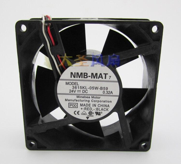 Original NMB 9038 3615KL-05W-B59 DC24V 0.32A 9cm Alarm Signal Inverter cooling fan