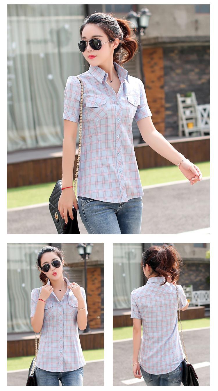 Brand New 2017 Lato Styl Plaid Drukuj Krótki Rękaw Koszule kobiety Plus Rozmiar Bluzki Na Co Dzień 100% Bawełna Topy Blusas 14 kolory 20