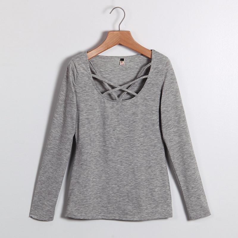Kobiety Koszulki Z Długim Rękawem Topy Hollow Out Bandaż Swetry Slim Sexy Topy Tees Blusas plus size LJ4515M Femme 8