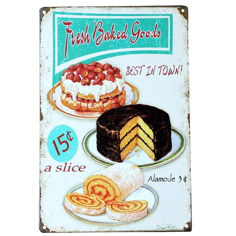 vintage metal tin signs - food