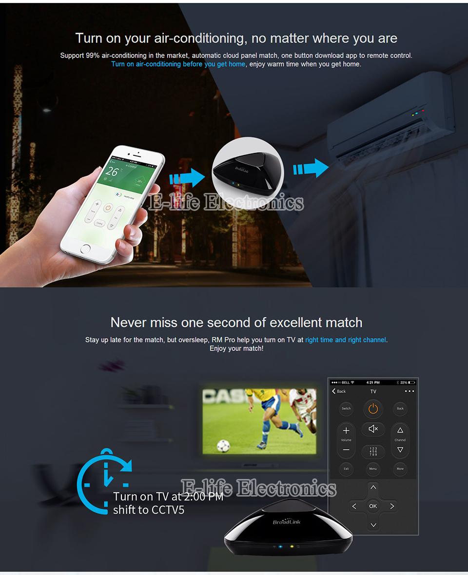 2017 Broadlink RM03 RM PRO Uniwersalny Inteligentny Pilot Smart Home Automation WiFi + IR + RF Przełącznik Poprzez IOS Android Telefon 12