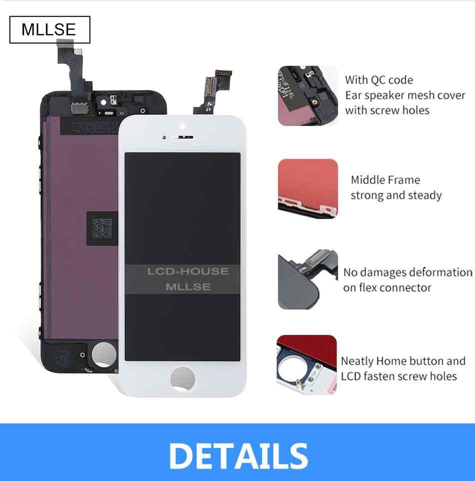 Mllse dla iphone 5 5s 5c moduł wyświetlacza lcd dotykowy ekran digitizer szklarz klon telefonu ekran lcd Klasy AAA jakość 4