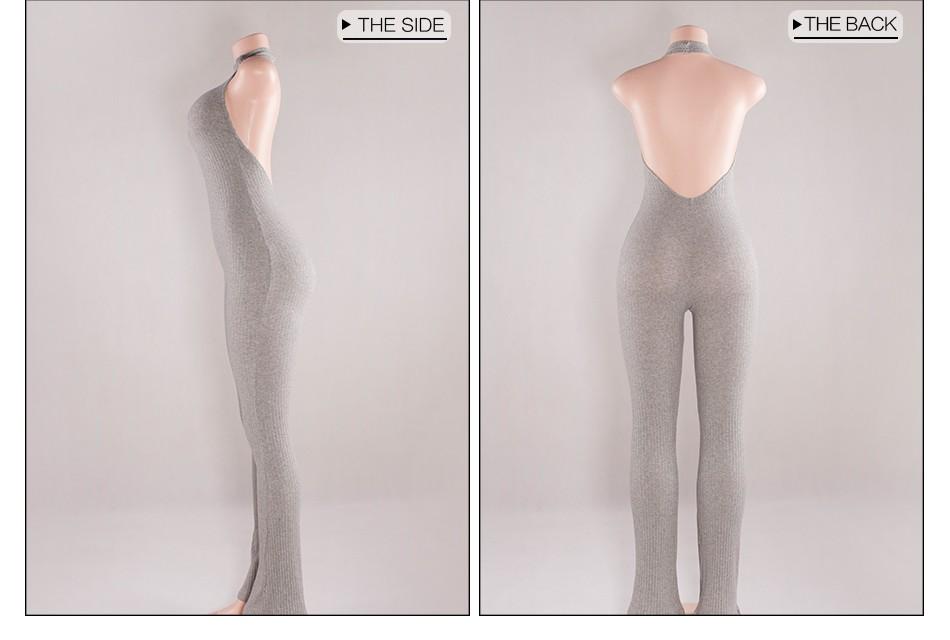 Kobiet Nowej Mody Pajacyki I Kombinezony Kobiety Sexy Backless Rękawów Kombinezony Playsuit Body Eleganckie Dzianiny 18