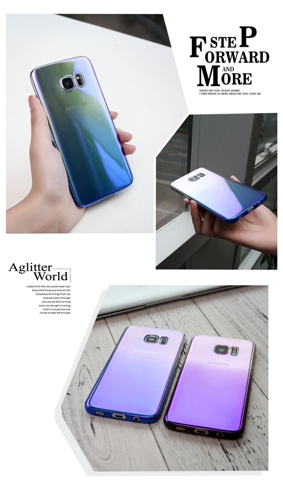 Floveme cool blue ray plastic case do samsung galaxy s7 s8 s6 S7 s8 Plus Krawędzi Gradient Kolor Platerowane Pokrywa Powrót Ochronna Shell 10