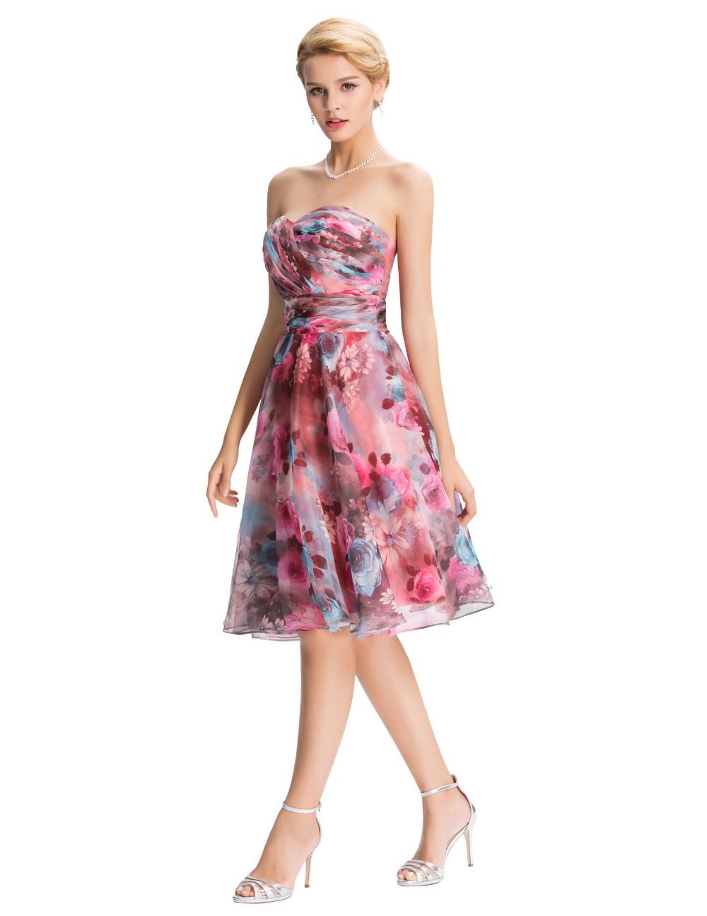 Chiffon Floral Print Short Wedding Bridesmaid Dress 4