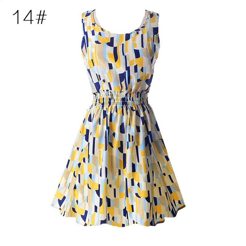 Sexy kobiety chiffon dress sundress plaża floral bez rękawów tank mini sukienki vestido 16
