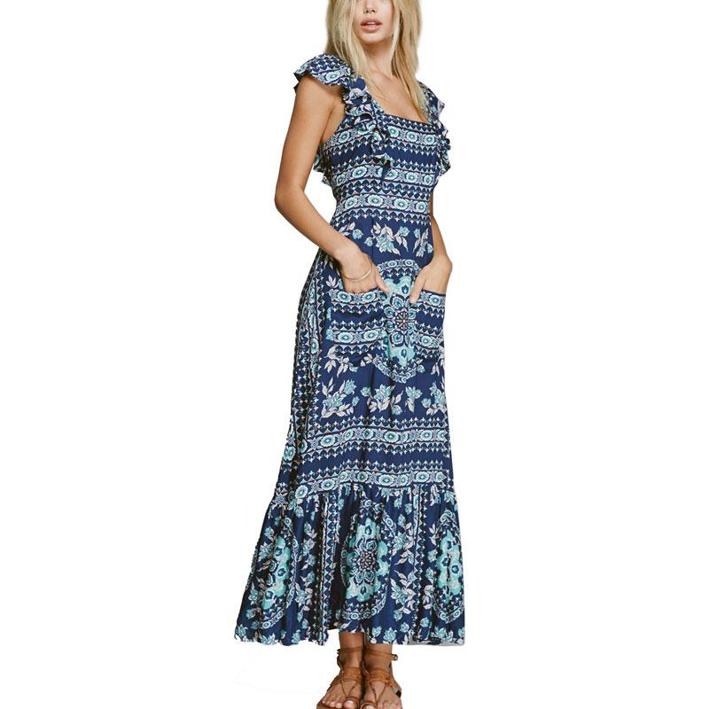Boho zainspirowany 2017 letnie sukienki kwiatowy print cotton backless długi maxi dress hippie chic ruffles rękawem kobiety sexy vestidos 14
