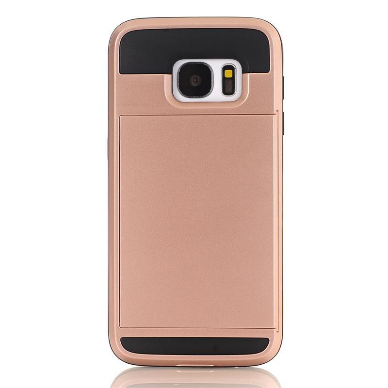 Zbroja slajdów credit card case do samsung galaxy s3 s4 s5 S6 S7 krawędzi Slot Portfel Shock Proof Skóry Twardego Plastiku + TPU Pokrywy Shell 5