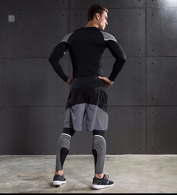 3 Sztuka Zestaw męska sport przebiegu stretch rajstopy legginsy + t shirt + spodenki spodnie treningowe jogging fitness gym kompresji garnitury 30