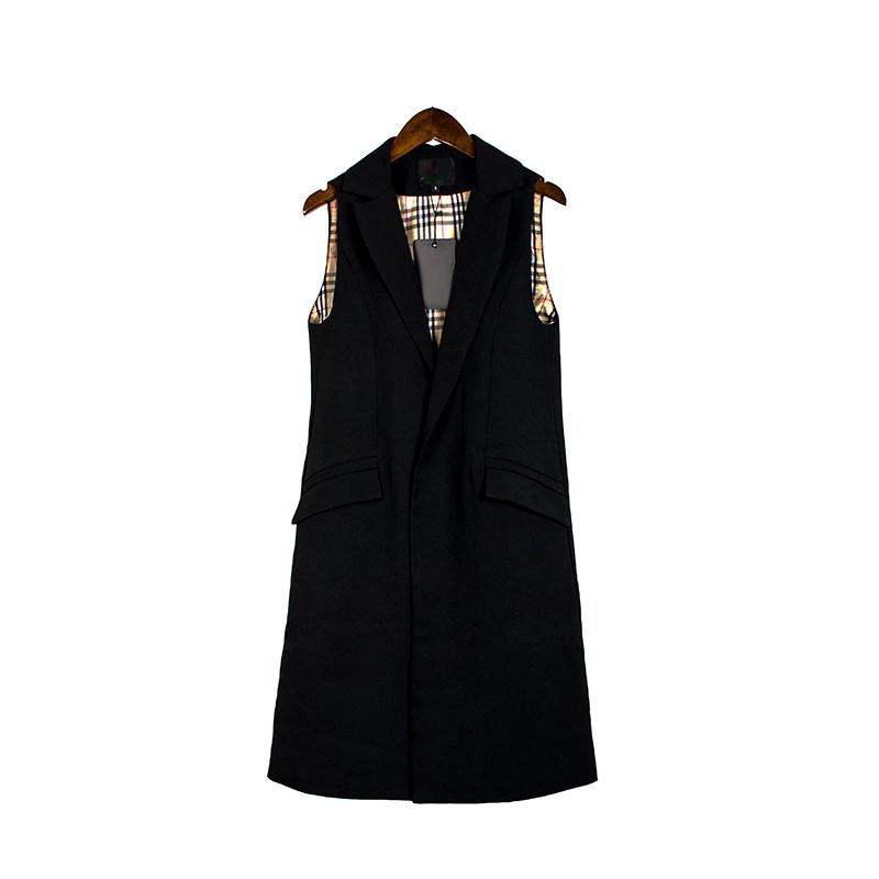 2017 wiosna nowy mody długie kieszenie turn-dół collar otwórz stitch pantone niebieski różowy beżowy czarny żakiet kamizelka bez rękawów kurtki 31