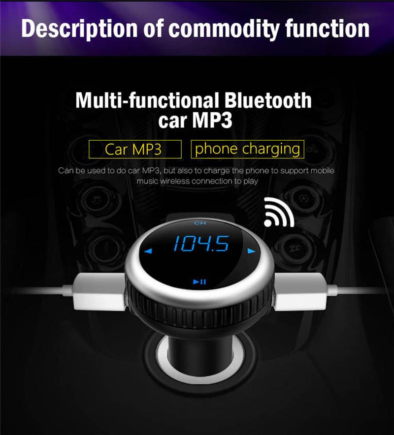 Samochodowy Odtwarzacz MP3 Audio Bluetooth Nadajnik FM Z Pilotem Zestaw Samochodowy Zestaw Głośnomówiący FM Modulator bezprzewodowy Ekran LCD w/TF gniazdo 2
