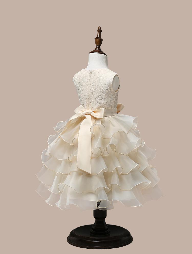 0-7 Years Mutlti Layer White Pink Flower Girl Dress 5